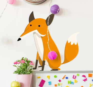 Kids Wall Stickers - Illustration drawing of an orange fur fox. Colourful feature for children. Available in various sizes. Easy to apply.