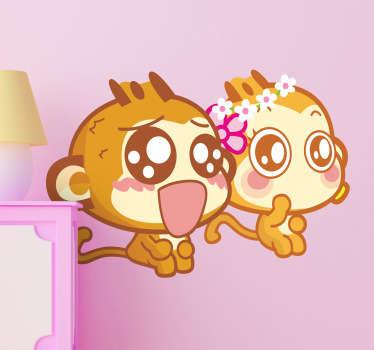 Adesivo bambini scimmiette bebé