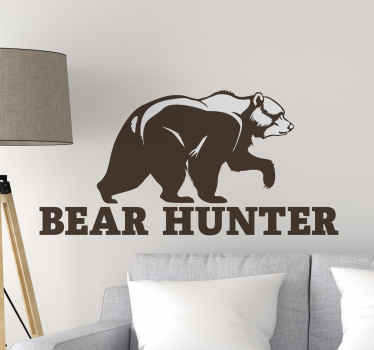 Bear Hunter wall vinyl sticker - If you love to hunt bears then this design is for you, it can be applied on all flat surfaces.