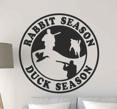 Rabbit/Duck season wall decal - A badge banner sticker for hunters illustrating the rabbit hunting season.  It is self adhesive and durable.