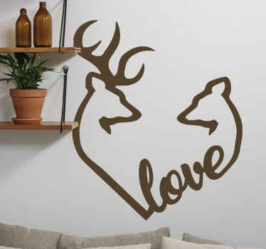Decorative deer and stag love decal - Simple but lovely illustration drawing decal to enhance the look on any space. Customizable and easy to apply.