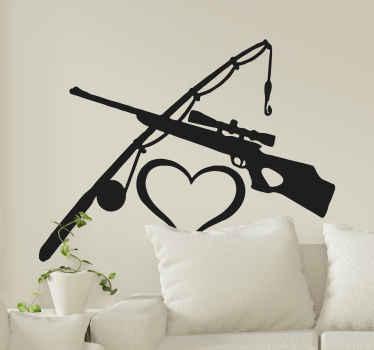 ハート型の銃と釣り竿を描いた装飾的な狩猟ステッカー。高品質のビニール製で、粘着性があり、カスタマイズ可能です。