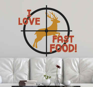 Decorative i love fast food text decal design with  illustration of a bow sign positioned precisely to shoot a  a running reindeer without missing it.
