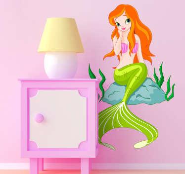Autocolante decorativo infantil sereia sentada