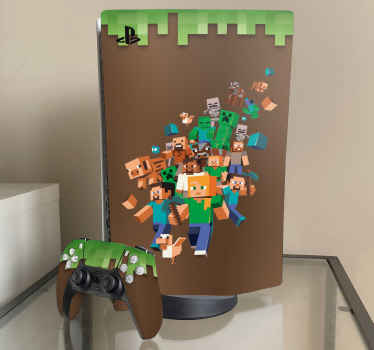Fun and interesting Minecraft PlayStation vinyl sticker to customize the surface of a PlayStation console and controller.