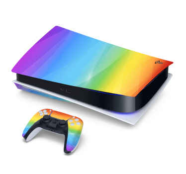 Multi-coloured PS5 vinyl sticker for customizing a game console and controller. It is easy to apply, durable and can be removed.