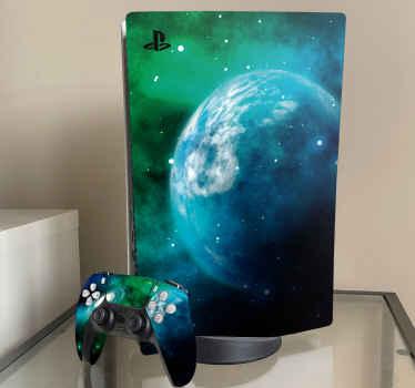 Vinilo PS5 realista del espacio para personalizar la superficie de su consola y los mandos. Fácil de aplicar, duradero y extraíble ¡Envío exprés!