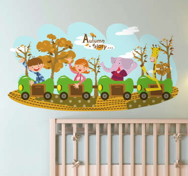 Kids Wall Stickers - Fun and playful illustration of a four carriage train with two children, an elephant and a giraffe.