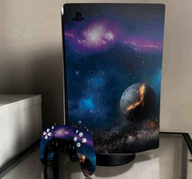 Si eres un amante del espacio y las ilustraciones, entonces deberías tener este vinilo ps5 para personalizar tu consola y mandos ¡Envío exprés!