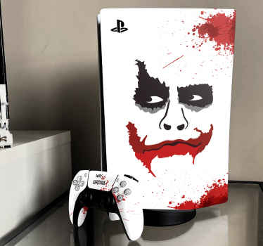 Joker PS5 vinyl skin stickers for lovers of comics. Imagine how lovely this PS5 decal would wrap up your game console with weird joker painting.