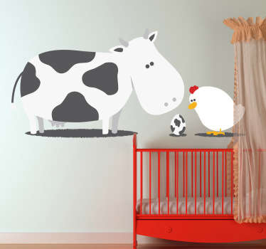 A creative and original decal illustrating a cow, a chicken, and their mysterious offspring! A design from our funny wall stickers collection!