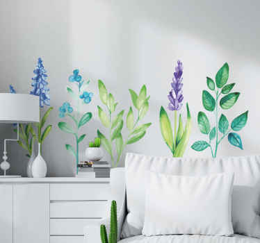 Beautiful set of leaves plant sticker to decorate you living room, bedroom and any other space.  It is original, self adhesive and durable.