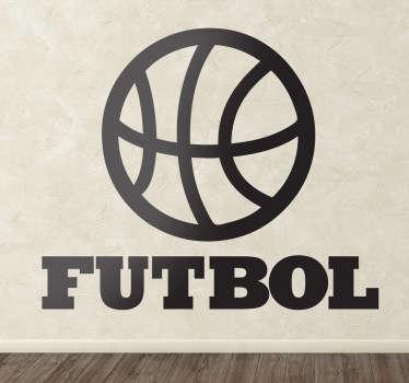 Chiste visual en pegatina de una pelota de baloncesto con un texto inferior que no liga con lo que vemos.