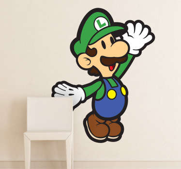 A kids wall sticker of the Mario's brother, Luigi! A Nintendo decal from the famous retro game, Super Mario Bros.