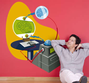 Wall Stickers - Illustration of a scientific brain machine. Fun and playful design.