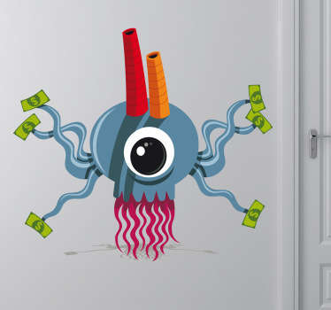 A monster wall sticker controlling a money factory! Funny decal to decorate any empty space at home.