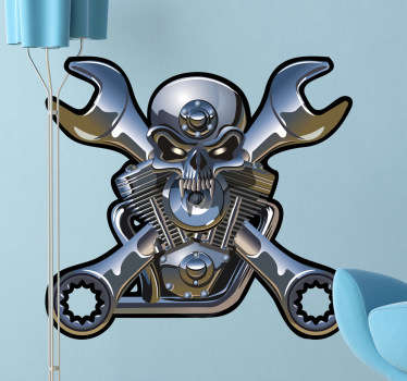 A spectacular skull wall sticker illustrating a metallic engine! Brilliant vinyl decal of a skull with crossed wrenches.