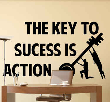 Motivation text sticker the design is illustrated a big key been pulled up by two persons and with text that says ''The key to success is action''.