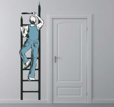 画家&はしごの壁のステッカー