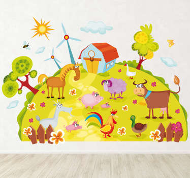 Great animal wall sticker illustrating a colourful farm with various animals. Ideal farm themed wall decal to decorate the bedroom or nursery of the little ones. This wall sticker is super easy to apply and leaves no residue upon removal.
