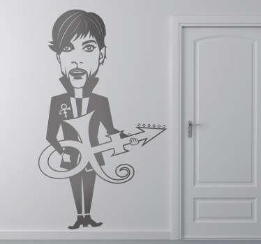 Een zwart-wit sticker in een komische versie van de beroemde Amerikaanse kunstenaar uit de jaren '70 tot de jaren '90, prince.