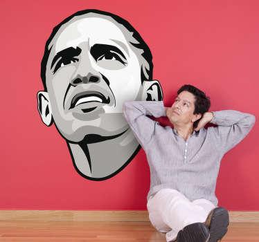 Autocollant mural portrait obama
