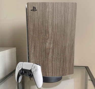 Vinilo ps5 de textura madera de roble para envolver completamente su consola de juegos en un estilo decorativo moderno ¡Elige modelo!