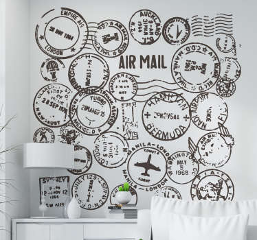 Do you like to travel? Show it off to your guests with this travel decal illustrating a collection of passport stamps to decorate your home. A collection of stamp stickers to give your home a more original and unique appearance!