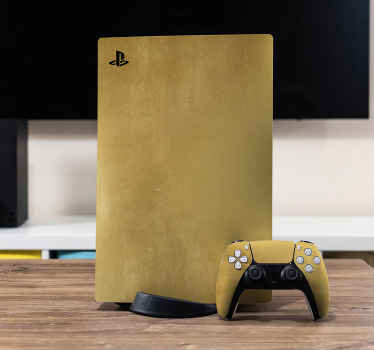 Brushed gold skin PS5 sticker wrap to cover your game console and controller in a new look.. Made to fit, easy to apply and removable without residues