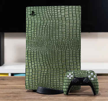 Made to fit  Alligator skin PS5 stickers. The design is made in green texture imitating the hard back skin of an alligator reptile animal.