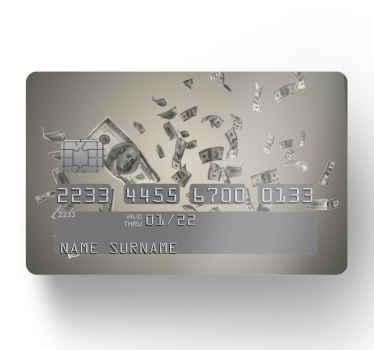 Betalkortklistermärke som har en bild av dollarsedlar som regnar från himlen på en grå bakgrund. + 10 000 nöjda kunder.