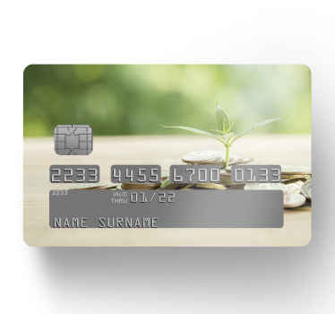 Lovely and soothing planting trees on coin pile credit card decal to customize your bank card. It is easy to stick on, wrinkle proof and self adhesive