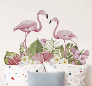 Tropical flower  with flamingo sticker for your wall decoration, window decoration, furniture, etc. It is original and durable.