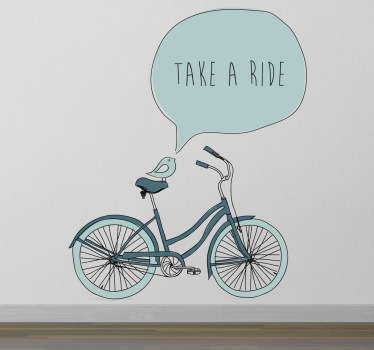 A bike wall sticker illustrating a bicycle that is inviting you to take a ride! A simple yet eye-catching bike decal to decorate your home.