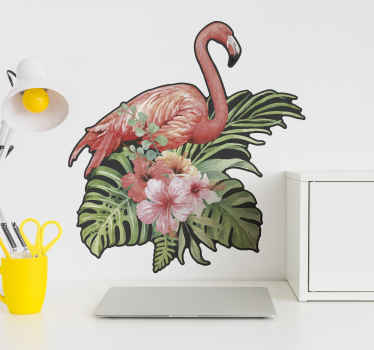 A lovely flamingo bird with hibiscus flower design sticker. This can be decorated on any space in a house and for other space decoration.