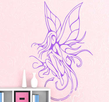An amazing decorative decal of a monochrome design of a magical fairy. Superb wall sticker for those that love tattoo designs!