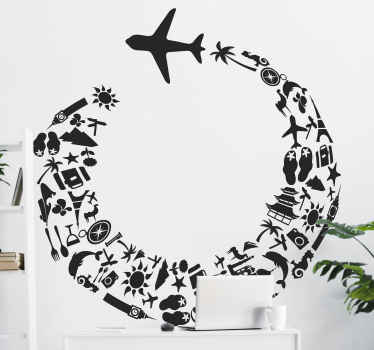 A creative plane wall sticker illustrating a journey around the world! Brilliant travel wall decal for decorating your living room or bedroom. Unique design showing an airplane leaving a trail of souvenirs and holiday items behind it.