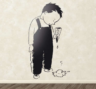 Kids Wall Stickers - Illustration of a little boy sad and upset that he dropped his ice cream. Ideal for decorating areas for children.