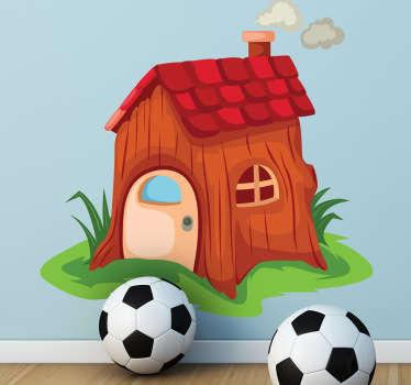 Sticker kinderkamer houten huisje