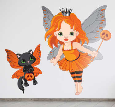Kids Stickers - Illustration of a fairy and her cat dressed for the halloween.