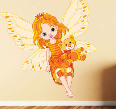 A fairy wall sticker illustrating a fairy in orange with her teddy bear. Brilliant as a girl´s wall sticker or girl´s bedroom sticker decorate their bedroom.