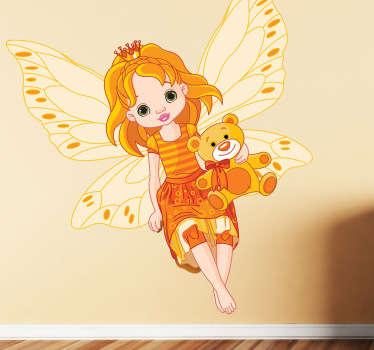 Orange fe med teddy barn klistermärke
