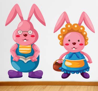 Sticker enfant couple lapins roses