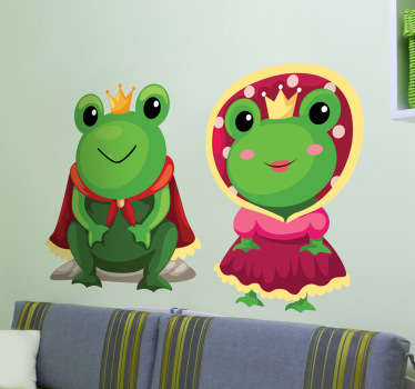 A fun fairy tale wall sticker illustrating a king frog and a queen frog with their robes and crown. Great frog decal for those animal lovers! Do your children love fairy tales and fantasy? This superb set of two stickers is perfect to provide your children with a magical atmosphere.