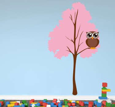Adesivo murale albero rosa con gufo