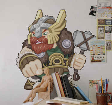 Viking man carrying big axe character decal - If you are a fan of the Vikings character, then this decorative people's character decal is for you.