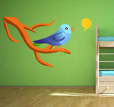 Kids Wall Stickers - Illustration of a cute blue canary on a tree branch singing. Colourful feature for children. Made from high quality vinyl.