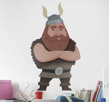 A scary looking Viking with beard sticker - Suitable to decorate any space in a house and it application is easy. Available in any size required.