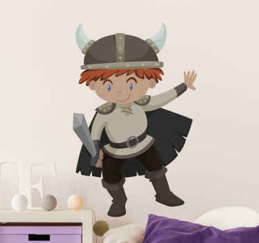 Children Viking vinyl decal. This design would be lovely to customize the room of a kid who is fascinated by Vikings character, easy to apply.