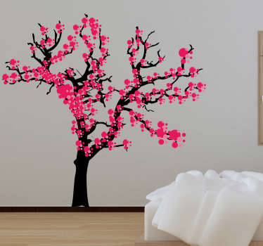 Sticker décoratif arbre fleuri asiatique rose